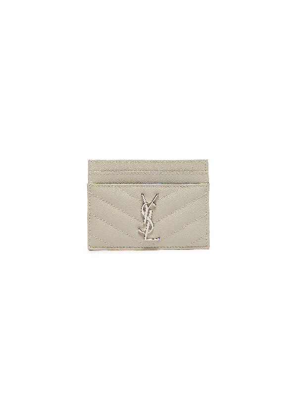 Saint Laurent Monogram Leather Cardholder In White