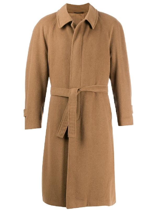 A.n.g.e.l.o. Vintage Cult 1990s Belted Midi Coat In Brown