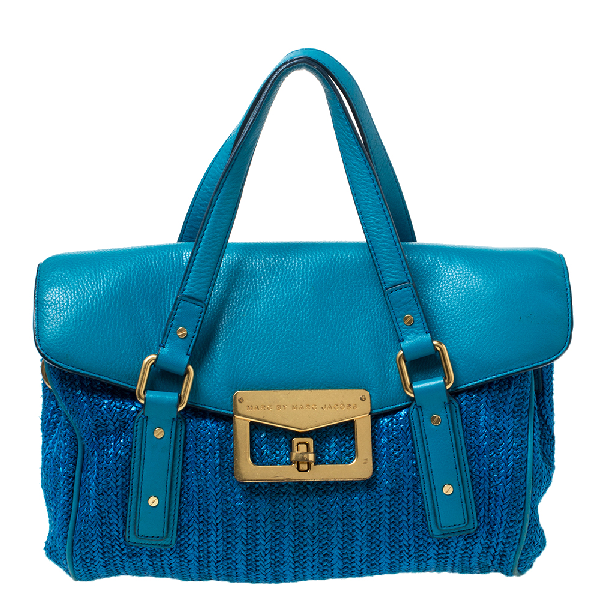 Marc By Marc Jacobs Two Tone Blue Raffia And Leather Turnlock Flap Shoulder Bag