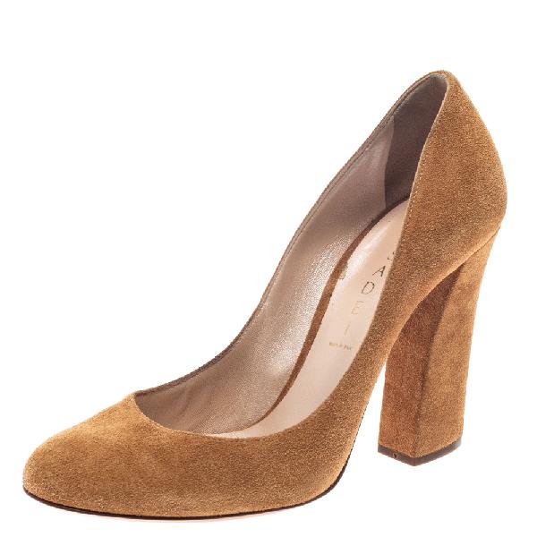 Casadei Brown Suede Leather Block Heel Pumps Size 38