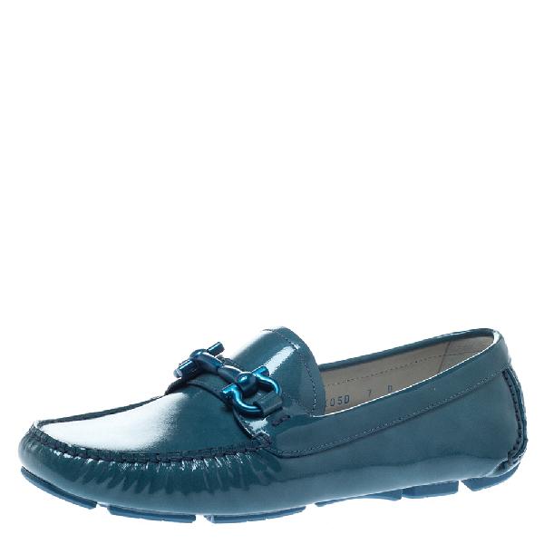 Salvatore Ferragamo Blue Coated Leather Gancio Driver Loafers Size 37.5