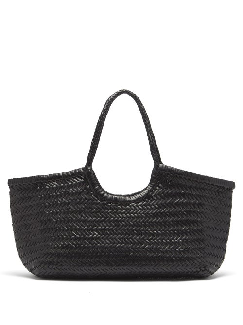 Dragon Diffusion Nantucket Woven-leather Basket Bag In Black