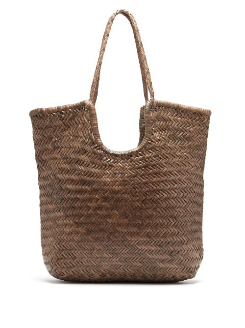 Dragon Diffusion Triple Jump Small Woven-leather Basket Bag In Khaki