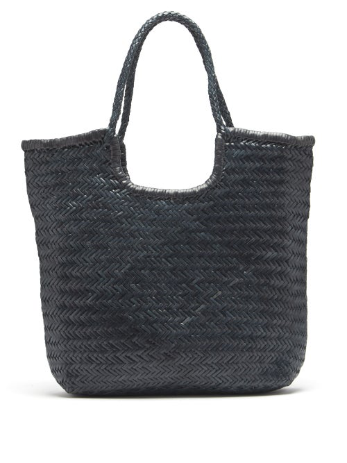 Dragon Diffusion Triple Jump Small Woven-leather Basket Bag In Navy
