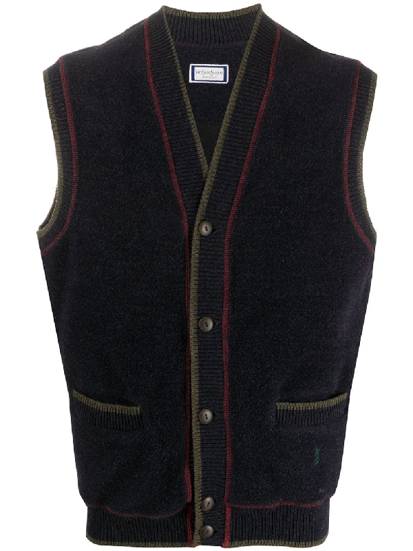 Saint Laurent 1990s Knitted Waistcoat In Blue