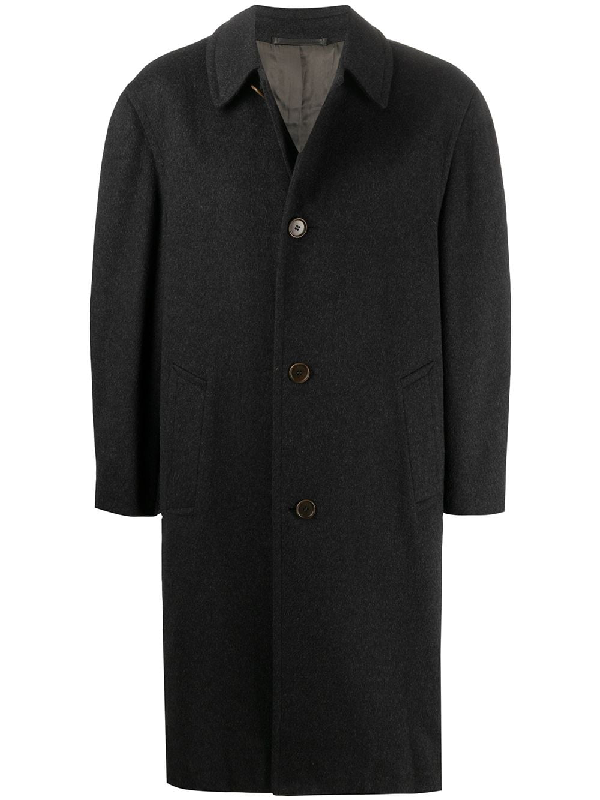 A.n.g.e.l.o. Vintage Cult 1990s Buttoned Below-the-knee Coat In Black