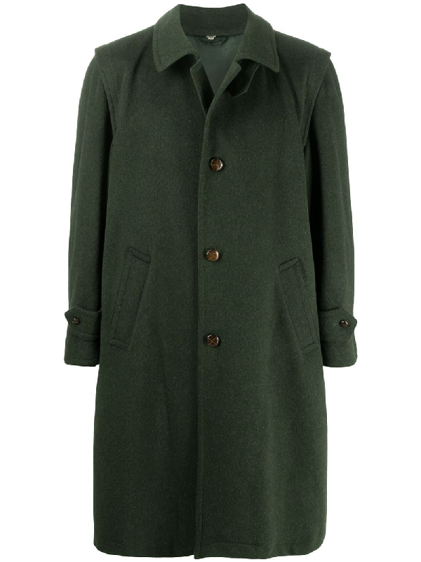 A.n.g.e.l.o. Vintage Cult 1980s Straight-fit Knee-length Coat In Green
