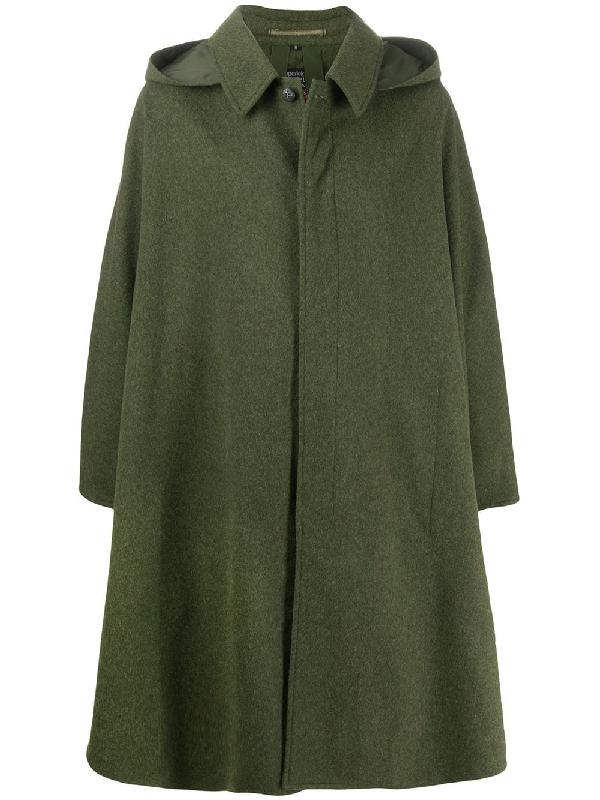 A.n.g.e.l.o. Vintage Cult 1980s Hooded Long Cape In Green