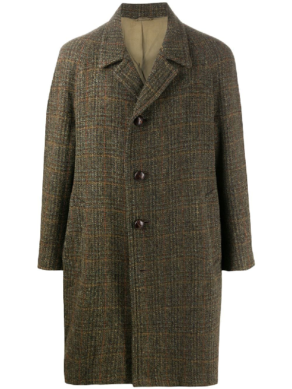 A.n.g.e.l.o. Vintage Cult 1980s Plaid Knee-length Coat In Green