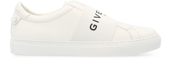 Givenchy Urban Street Logo-print Leather Slip-on Sneakers In 100 White