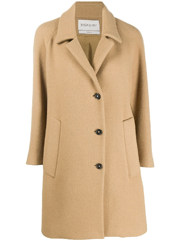 Saint Laurent Single-breasted Coat In Neutrals