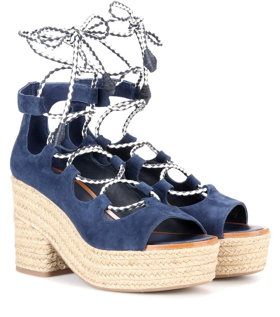 cdb960351 Tory Burch Positano Suede Lace-Up Platform Espadrille Sandals In Bright Navy