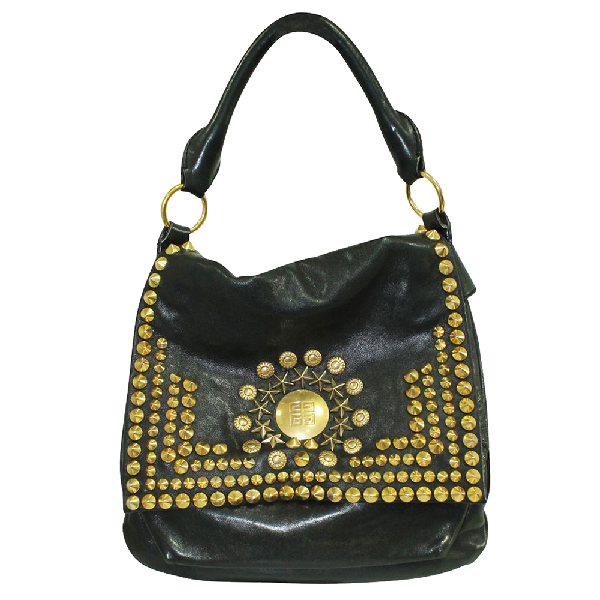 Givenchy Black Leather Gold Studs Hobo Bag