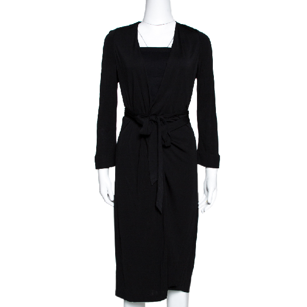 Diane Von Furstenberg Black Jersey New Julian Two Wrap Dress L