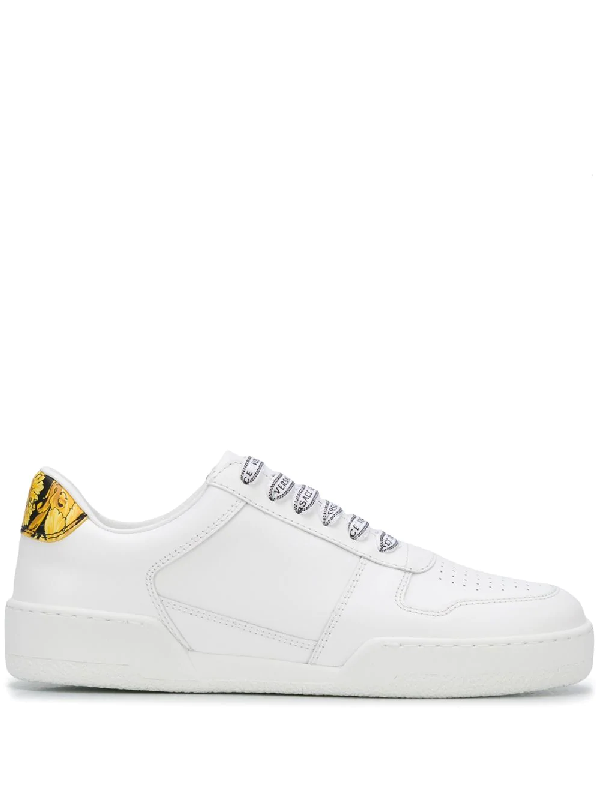 Versace White And Gold Leather Low Top Women's Sneakers