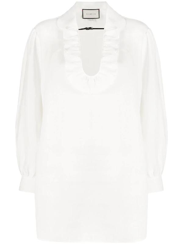 Gucci Bluse Mit RÜschenkragen In White