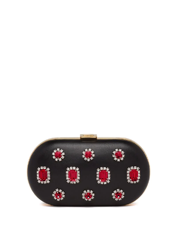 Prada Nappa Jewel Appliqué Clutch In Black