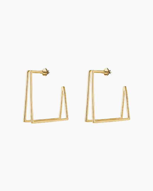 Miansai Axis Earrings In Polished Gold