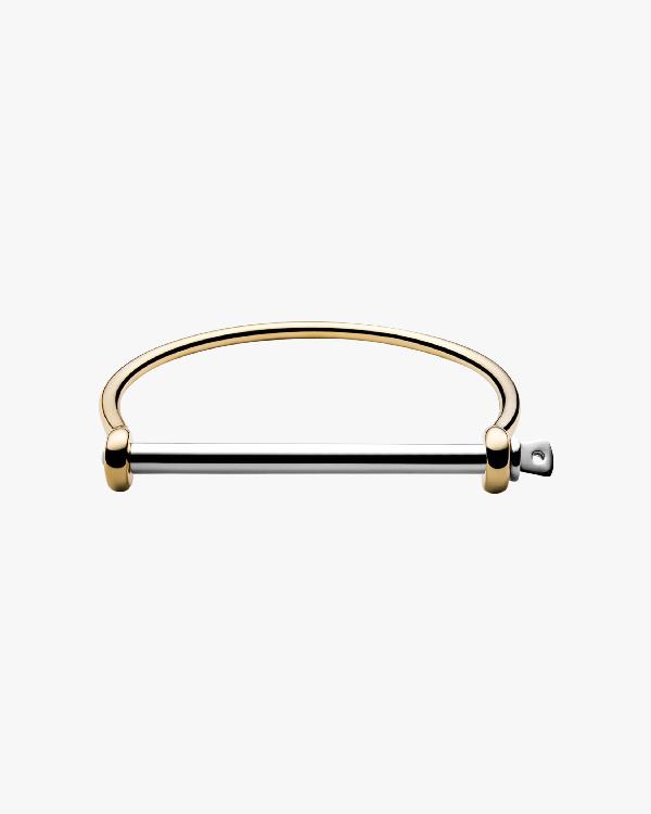 Miansai Thin Screw Cuff Bracelet In Polished Gold/silver
