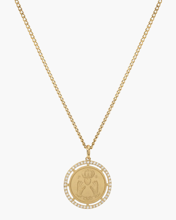 Miansai Test Of Time Pendant Necklace In Polished Gold/white Sapphire