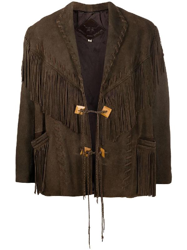 A.n.g.e.l.o. Vintage Cult Fringe Trim Jacket In Brown