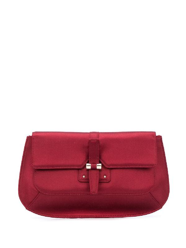 Saint Laurent 2000s Silk Clutch Bag In Red