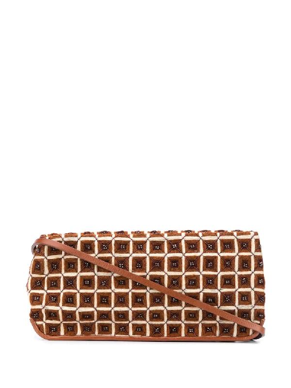 Bottega Veneta 2000s Crochet Shoulder Bag In Brown