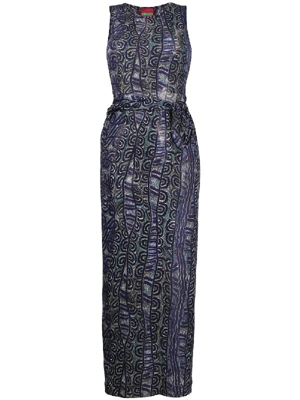 Kenzo 2000s Patterned Dress In Blue