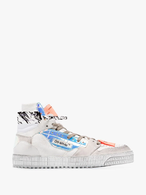 Off-white Off Court Paneled High-top Sneakers White Iridescent