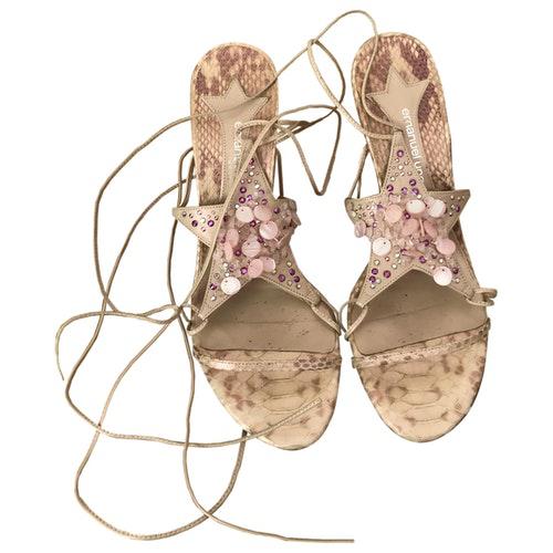 Emanuel Ungaro Beige Python Sandals