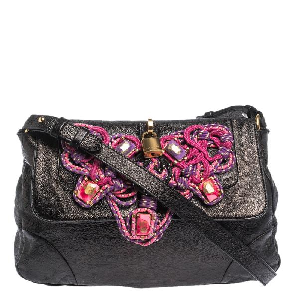 Marc Jacobs Metallic Black Leather Flap Crossbody Bag