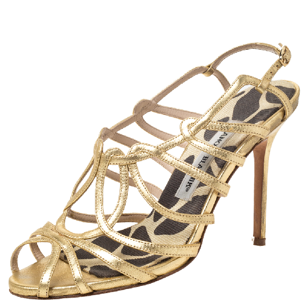 Manolo Blahnik Metallic Gold Leather Strappy Sandals Size 36.5