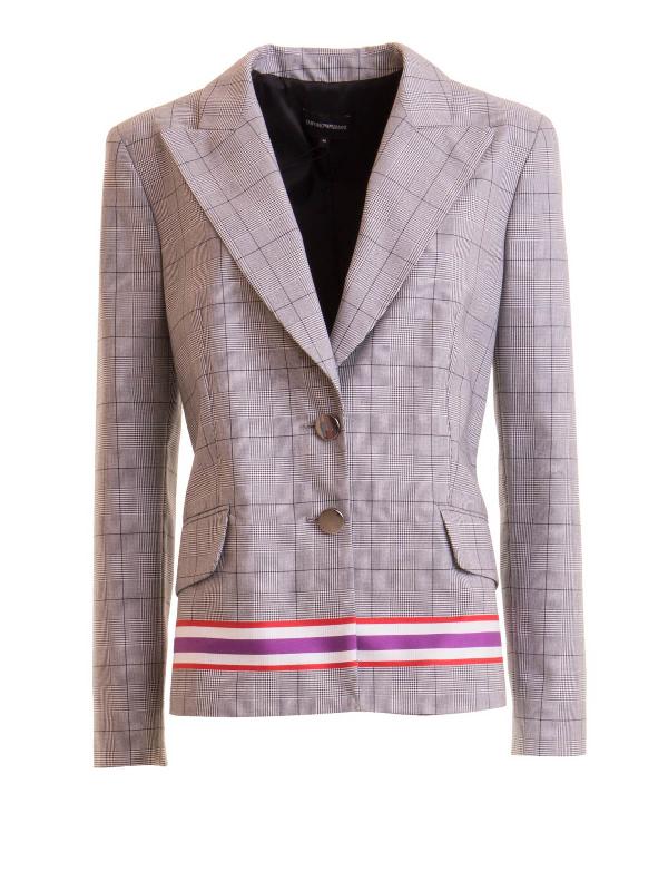 Emporio Armani Coloured Stripe Check Print Blazer In Grey
