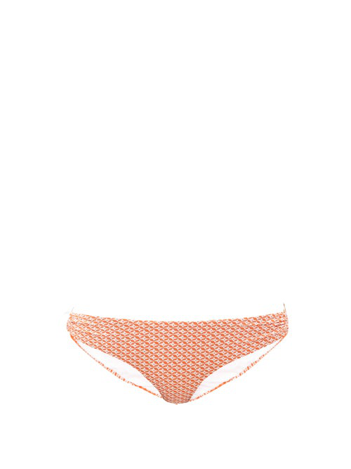 Melissa Odabash Evita Side-ring Mosaic-jacquard Bikini Briefs In Orange Multi