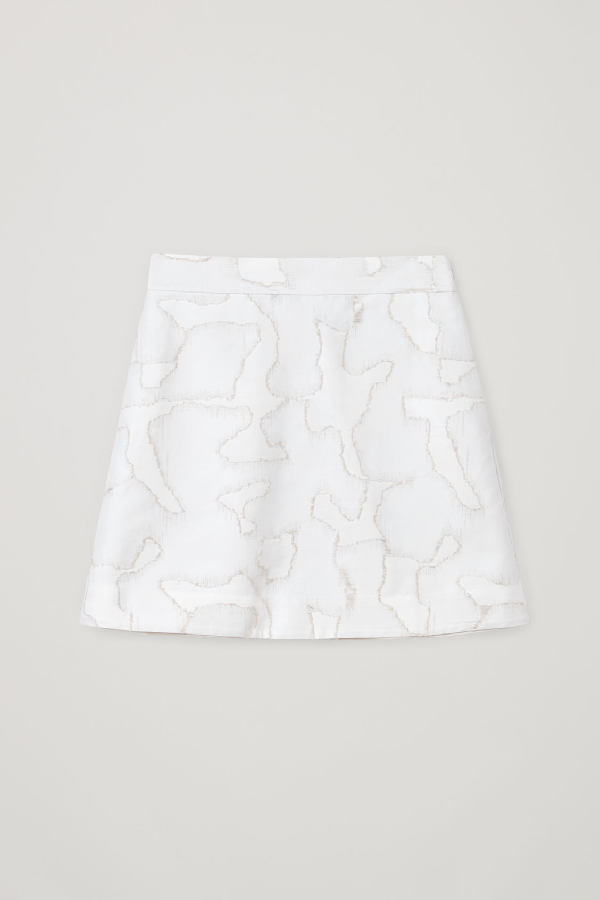 Cos Organic Cotton-linen Mix Marble Print Mini Skirt In White