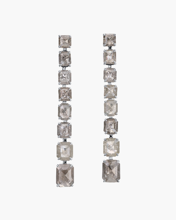 Nina Runsdorf Clair De Lune Line Earrings | Diamonds/enamel In Gray