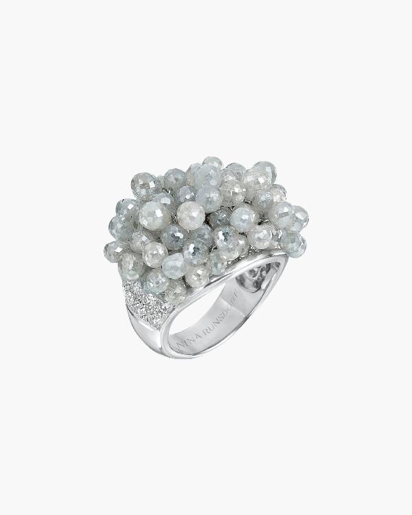 Nina Runsdorf Clair De Lune Fringe Ring In White Gold