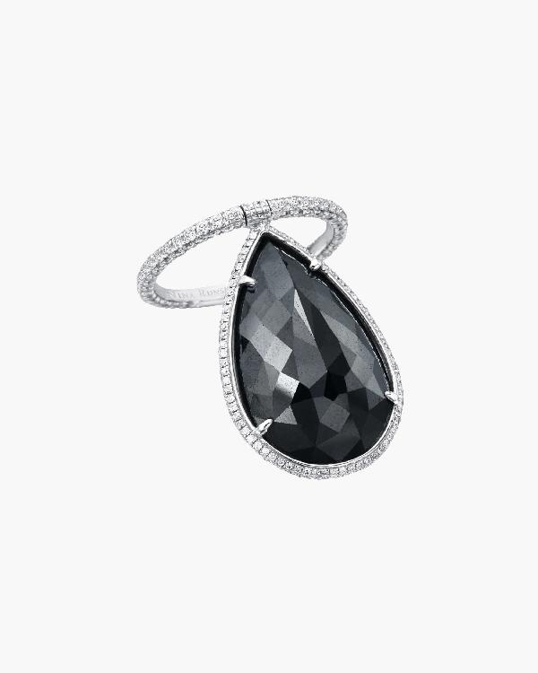 Nina Runsdorf Briolette Diamond Flip Ring In Black