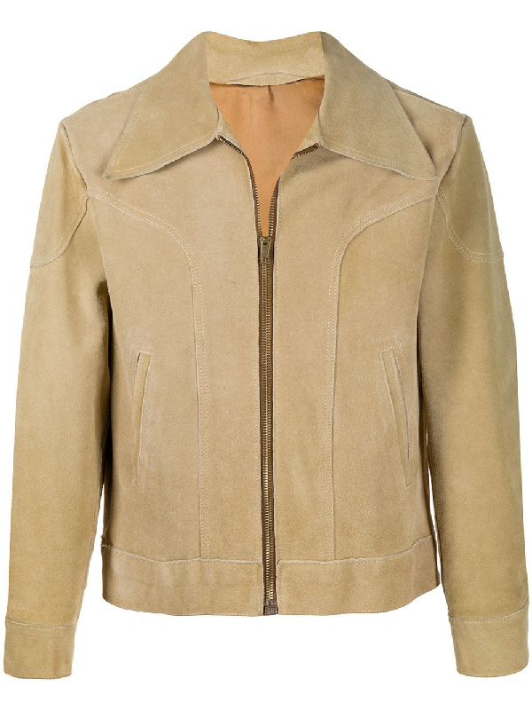 A.n.g.e.l.o. Vintage Cult 1970s Suede Trucker Jacket In Neutrals
