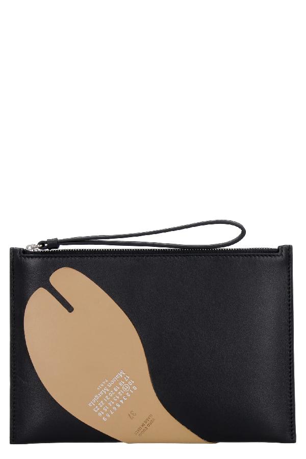 Maison Margiela Leather Flat Pouch In Black