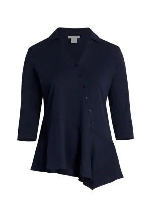 Joan Vass, Plus Size Asymmetrical Button Tunic In Navy