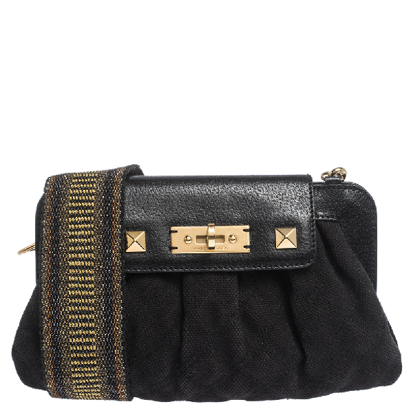 Marc Jacobs Black Canvas And Leather Turnlock Shoulder Bag