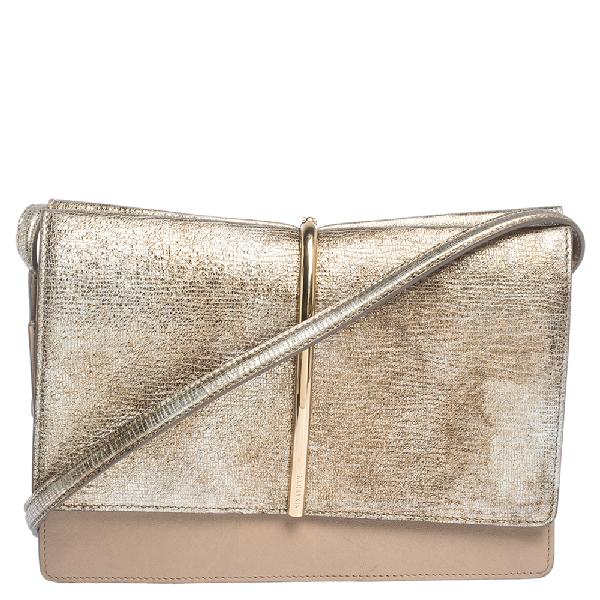 Nina Ricci Metallic Gold/beige Leather And Suede Arc Shoulder Bag