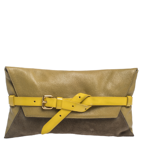 Marc By Marc Jacobs Tri Color Leather And Suede Clutch In Multicolor