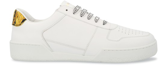 Versace White And Gold Leather Low Top Men's Sneakers