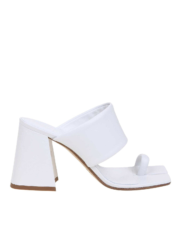 Maison Margiela Split-toe Logo-embossed Leather Mules In White