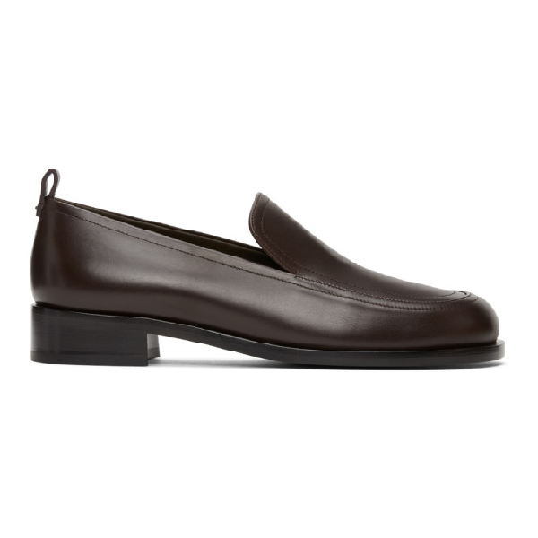 The Row Brown Penny Loafers In Dkpl Dark P