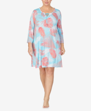Ellen Tracy Plus Size Pajama Tunic, Online Only In Aqua Prt
