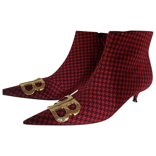 Balenciaga Double Square Bb Red Cloth Ankle Boots