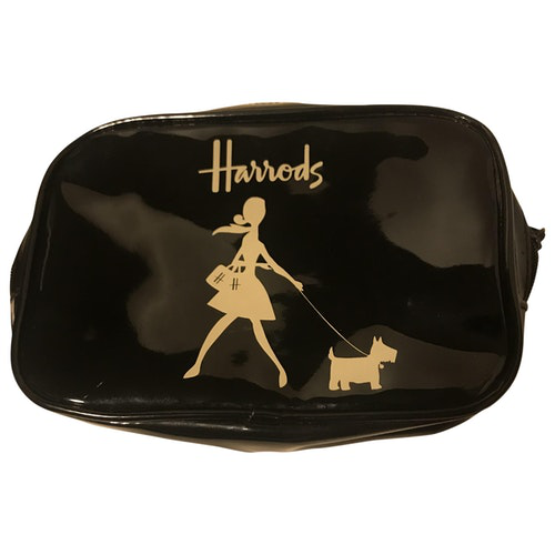 Harrods Black Patent Leather Clutch Bag